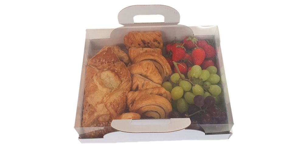 open tray box with clear lid