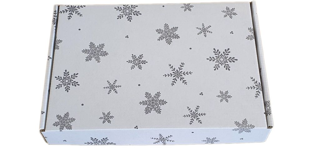 White Snowflake Printed Postal Packaging - Outer Box Only - 260mm x 185mm x 40mm - Pack of 10