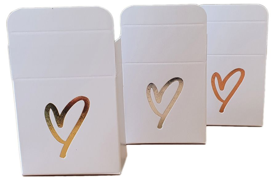White Small Non Window Single Macaron Box With Foiled Heart- 56mm x 56mm x