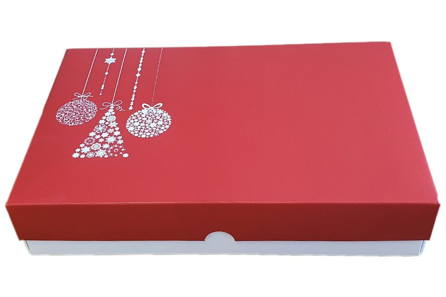 Red Christmas Deep Large Biscuit/Cookie Box With White Base and Foiled Non