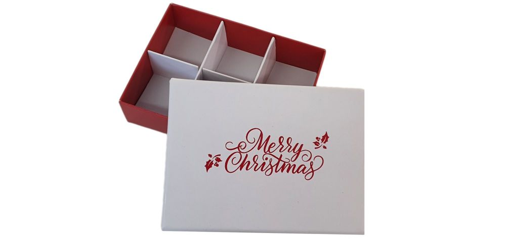 White and Red Christmas 6pk Small Chocolate Box With Foiled Non Window Lid