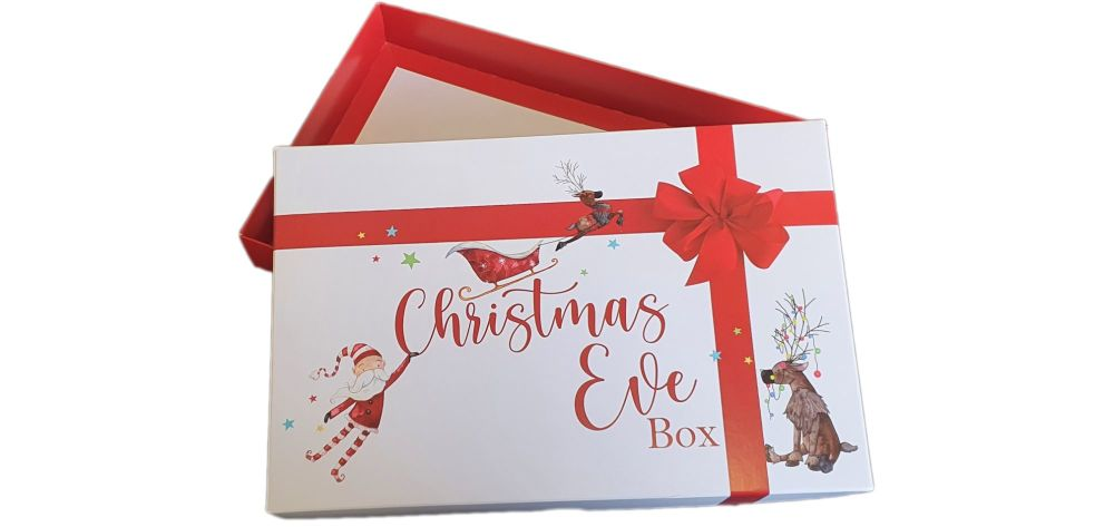 Christmas Eve Santa Print  box  with Red Base-240mm x 155mm x 30mm  Pack of