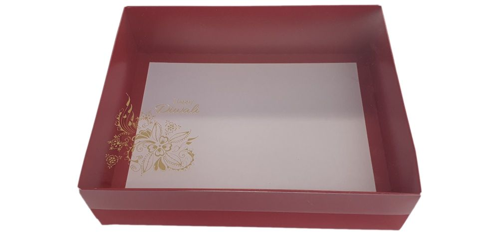 Red Diwali Hamper Box With Clear Lid & Foiled Belly Band - 250mm x 195mm x 70 mm - Pack of 10