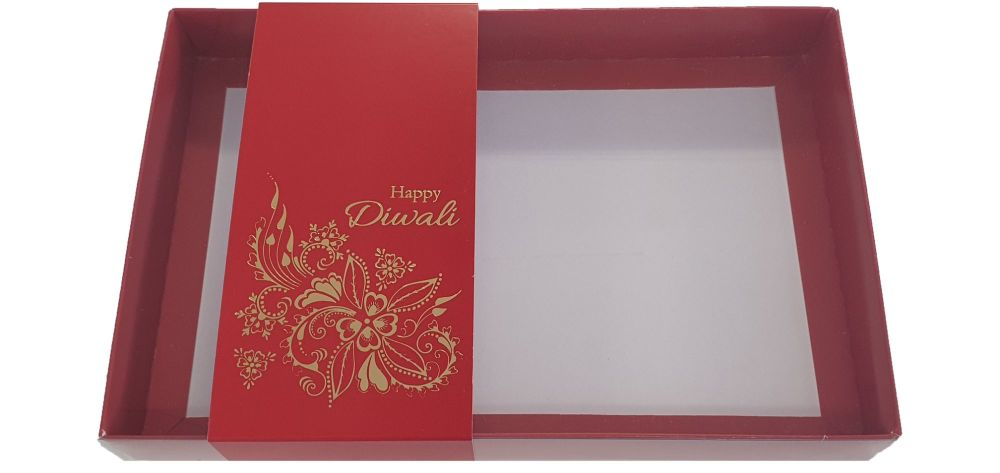 Red Diwali Large Biscuit/Cookie Box With Clear Lid & Foiled Belly Band - 24
