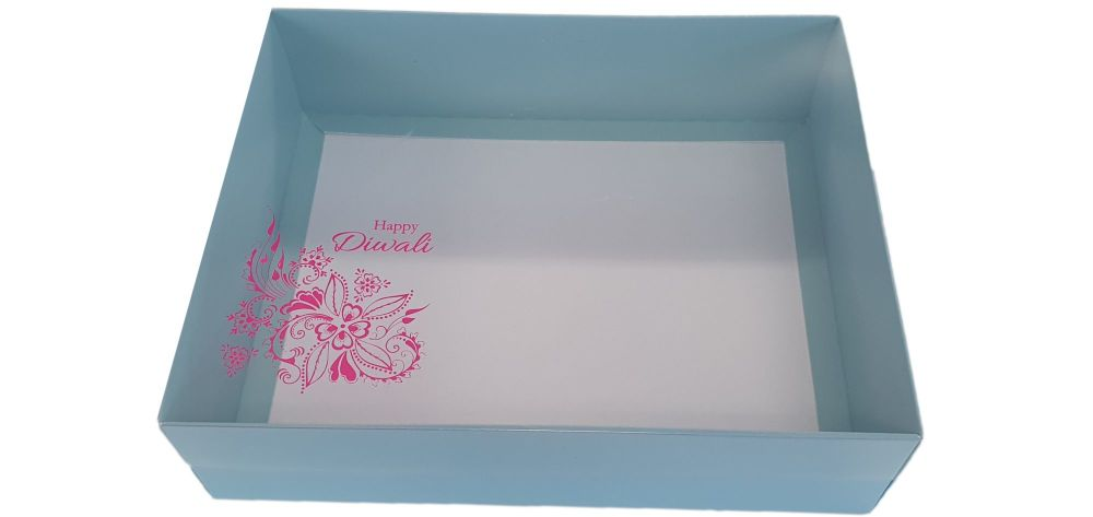 Turquoise Diwali Hamper Box With Clear Lid & Foiled Belly Band - 250mm x 19