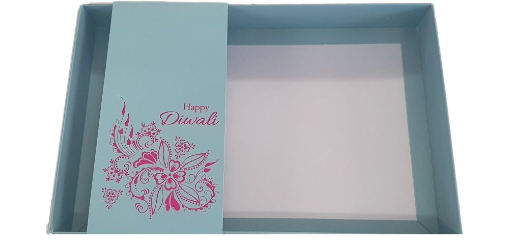 Large Diwali Biscuit/Cookie Box With Clear Lid & Foiled Belly Band - 240mm x 155mm x 30mm - Pack of 10