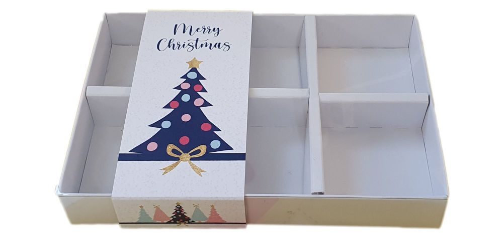White Christmas Tree Print 6pk Small Sweet Box With Clear Lid, Insert And Printed Belly Band- 165mm x 115mm x 26mm - Pack of 10