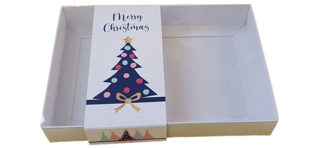 White C6 Cookie Box With Printed Christmas Tree Belly Band And Clear Lid an