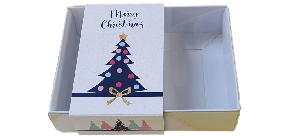 White Christmas Tree Print Small Rectangle Cookie Box With Clear Lid, Printed Belly Band -  115mm x 85mm x 30mm - Pack of 10