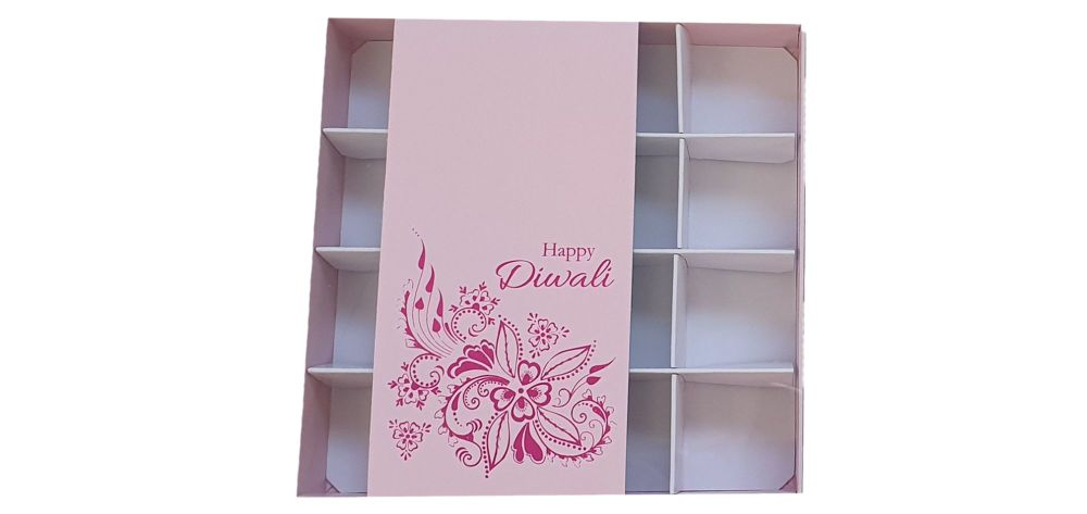 Diwali 16pk Chocolate Box With Clear Lid & Insert And Belly Band - 155mm x 155mm x 30mm - Pack of 10