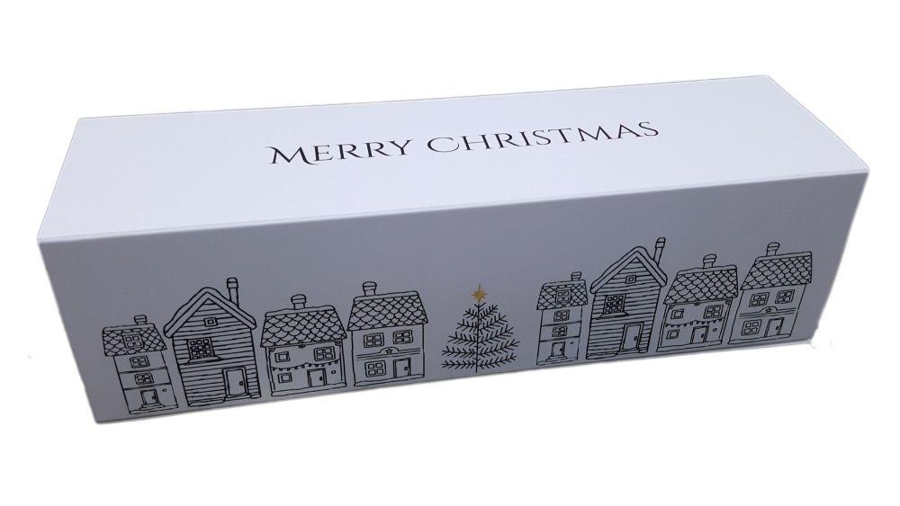 White Christmas Print 6pk Non Window Sleeve Macaron Box - 185mm x 50mm x 50