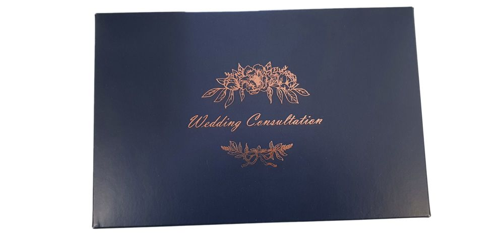 Navy  Wedding Consultation Box With Foiled  Non Window Lid - 240mm x 155mm