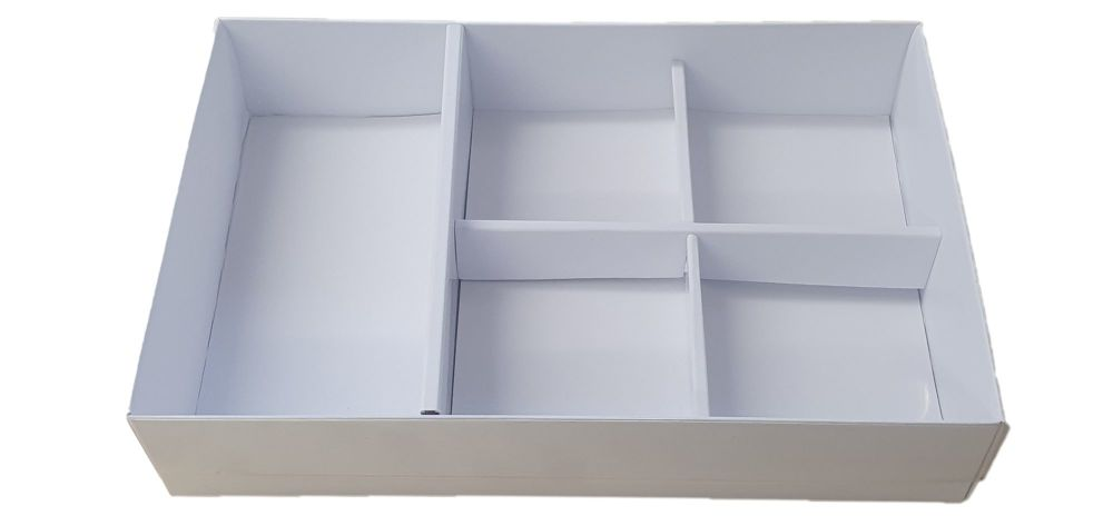 50mm Deep Compartment Box With Inserts And Clear Lid - 240mm x 155mm x 50mm - Pack of 10
