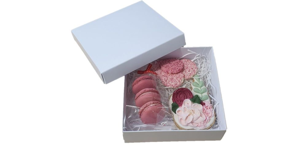 White Large Deep Square Cookie Box With Non Window Lid - 155mm x 155mm x 50