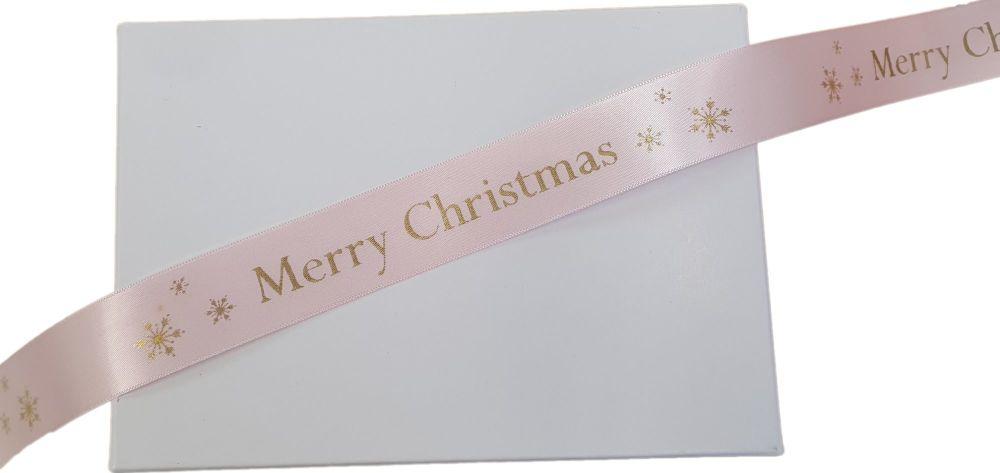 Pink Merry Christmas Satin Ribbon -  5 Metres x  25mm Wide