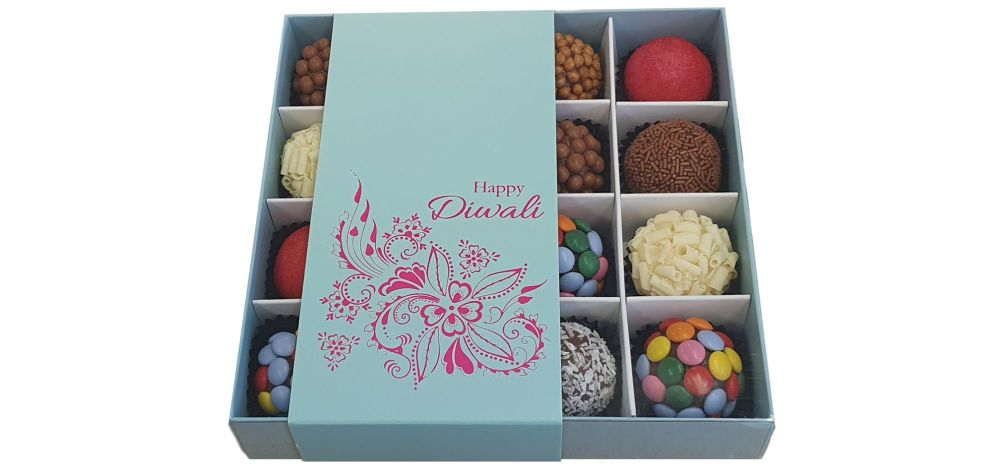 Diwali 16pk Chocolate Box With Clear Lid & Insert And Belly Band - 155mm x