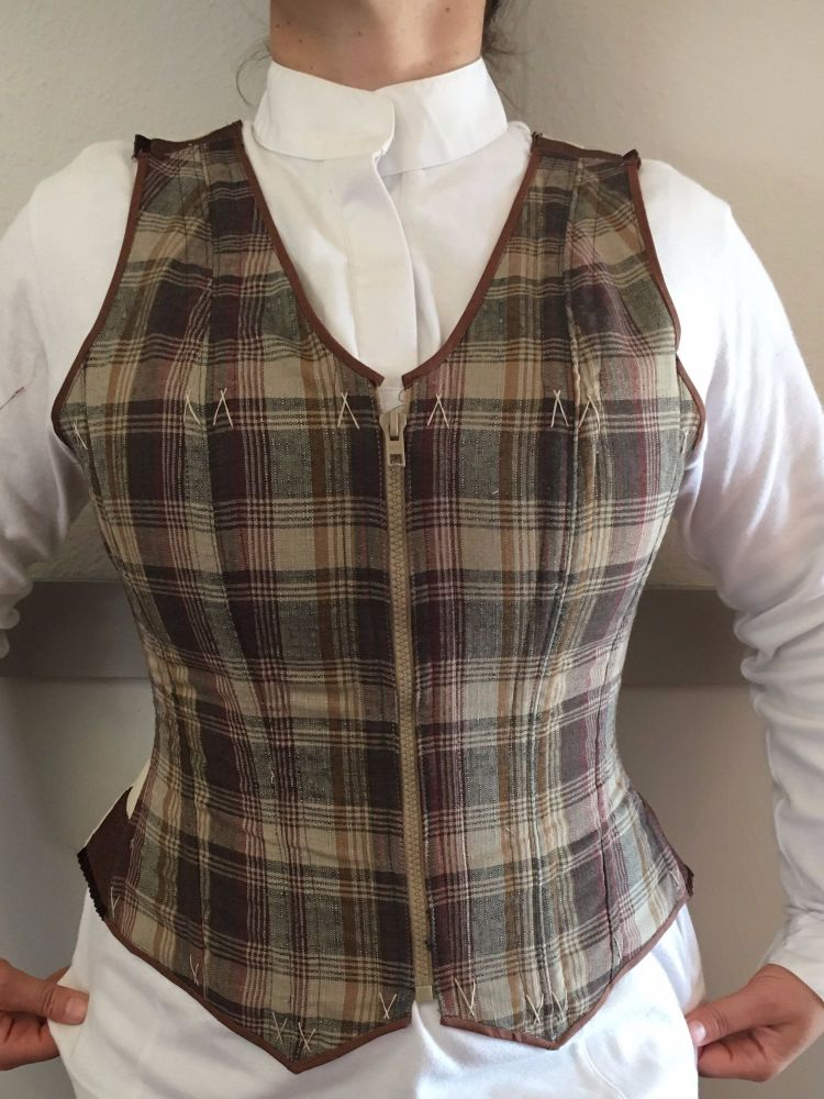 corseted waistcoat brown check size 14 - 16
