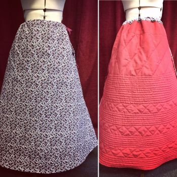 Victorian quilted  winter petticoat made to measure