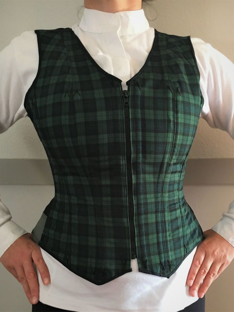 corseted waistcoat black/green check size 14-16