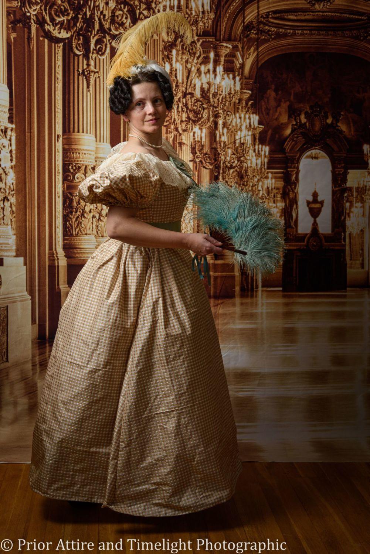 Romantic era evening dress cotton size  12-14