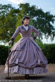 Victorian crinoline day/croquet/travelling  dress size 12-14