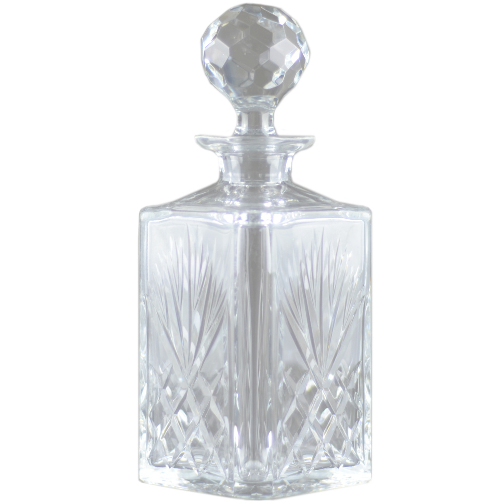 Square Crystal Decanter With Faceted Stopper