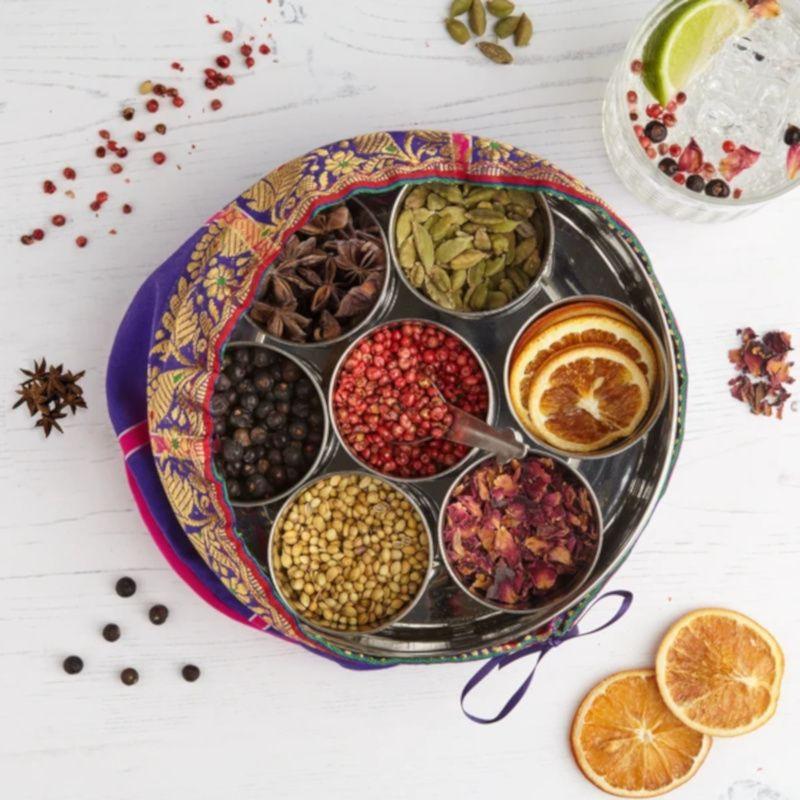 Gin Botanicals Tin With 7 Botanicals & handmade silk sari wrap.
