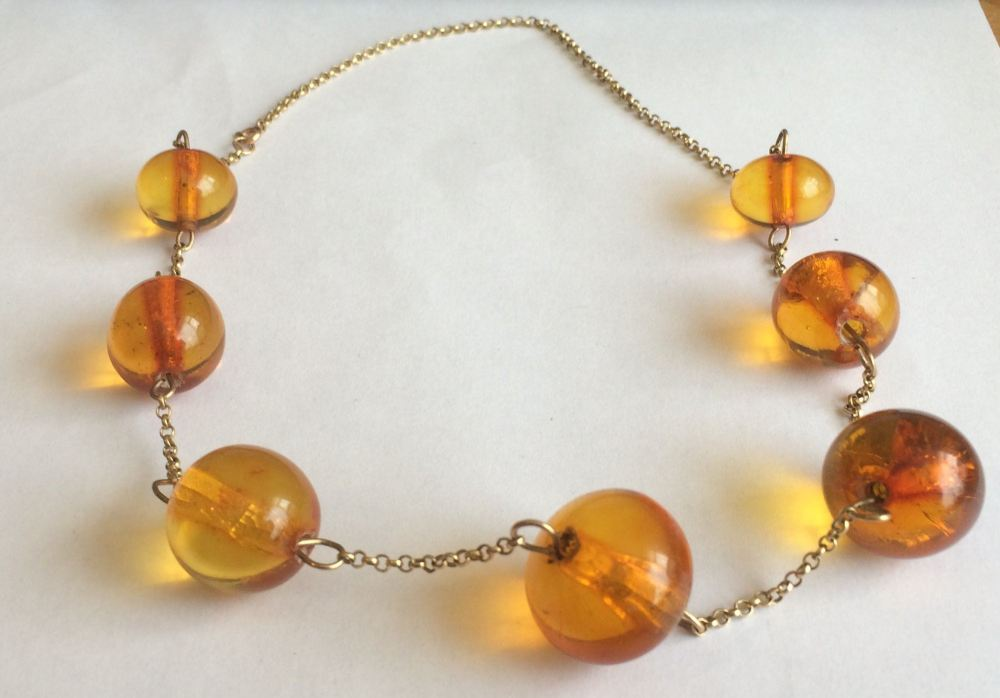 Amber Necklace and 9ct Yellow Gold Chain