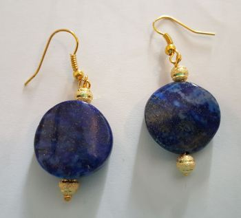 Lapis Oval Beads Earrings, Gold plated findings