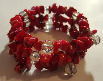 Red Coral Beads and Quartz Memory Wire Braclett