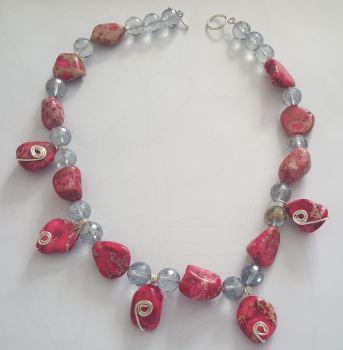 Mystic Quartz Gemstones and Jasper 925 Silver Necklace