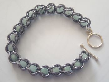 Gunmetal Chain Links and Quartz Braclett with silver plated toggle clasp
