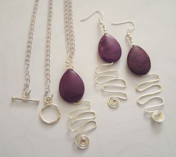 Gemstone Earring and Necklace Set silver plated findings