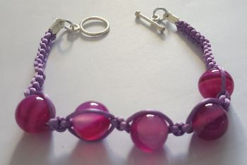 Banded Agate Bead and Cord Braclett inc silver plated toggle clasp