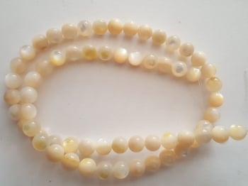 Mother of Pearl approx 5mm to 6mm Round Beads 14 inchStrand