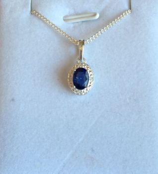 Kyanite and Diamond Pendant and Chain in Silver