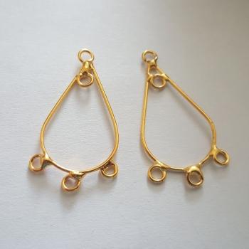 Gold Plated Plain Drop x3 loop pair