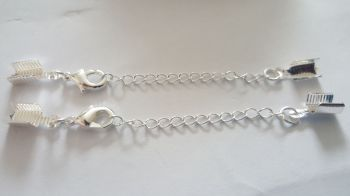 silver plated Clasp chain and end clamps findings set of 2