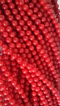 Dyed Red Coral 7mm round beads 14 inch stirng