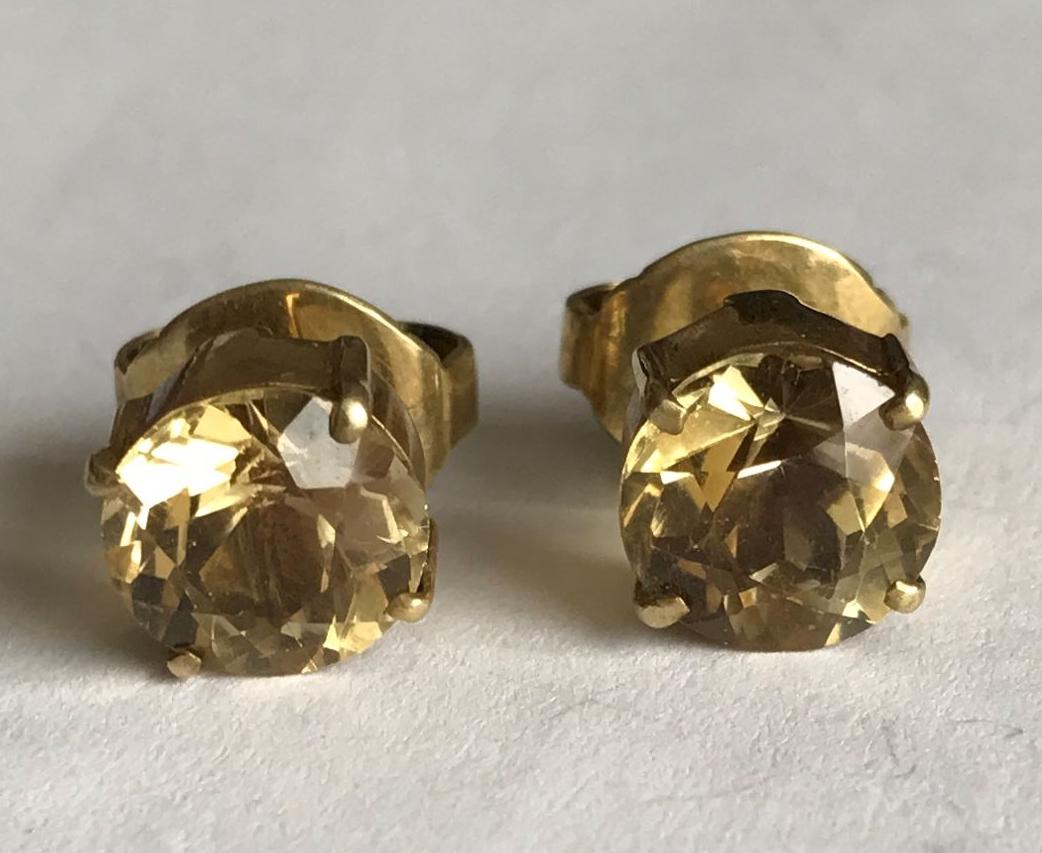 Citrine Silver Gilt Earrings   (ear08)