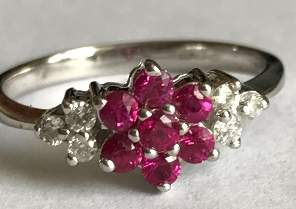 New Product Ruby and Diamond Cluster in 9ct White Gold