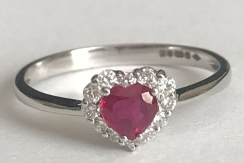 New Product  Ruby Heart and Diamond Ring in 9ct Gold