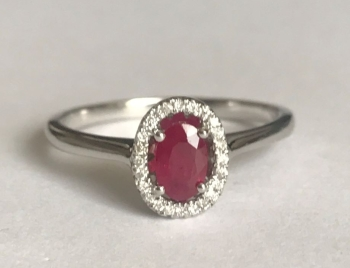 New Product Ruby Oval Cluster and Diamond Surround in 9ct Gold