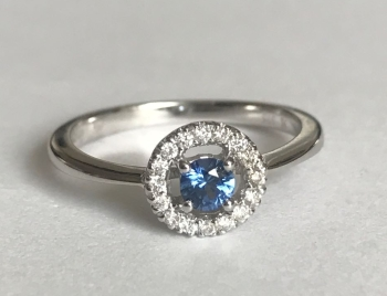 New Product Sapphire and Diamond Ring in white Gold