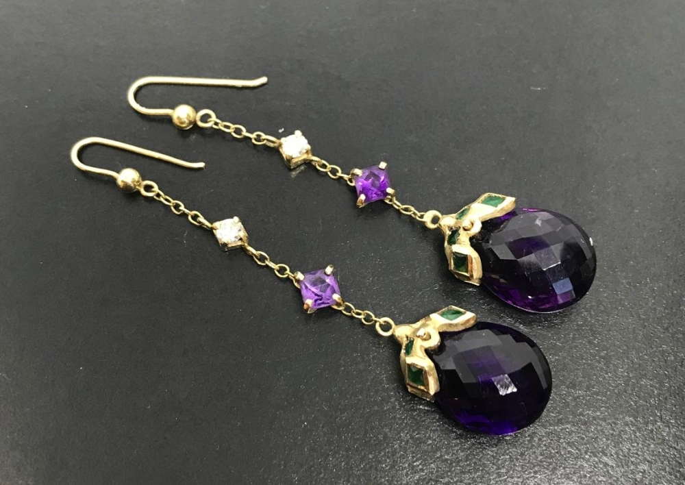 Fine Amethyst Emerald and Diamond Earrings in 18 ct Gold  (ant21)