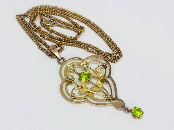 Antique Peridot and Seed Pearl Necklace in 9ct gold