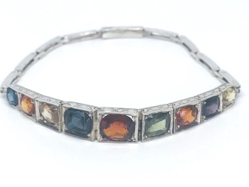 Art Deco Mulit Gem Bracelet (Antique) white metal