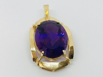 Very Large Amethyst Pendant in 14 ct gold     gemstone 26mm x 20mm