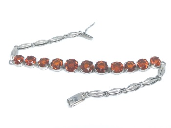 Orange Garnet Art Deco Bracelet in Silver