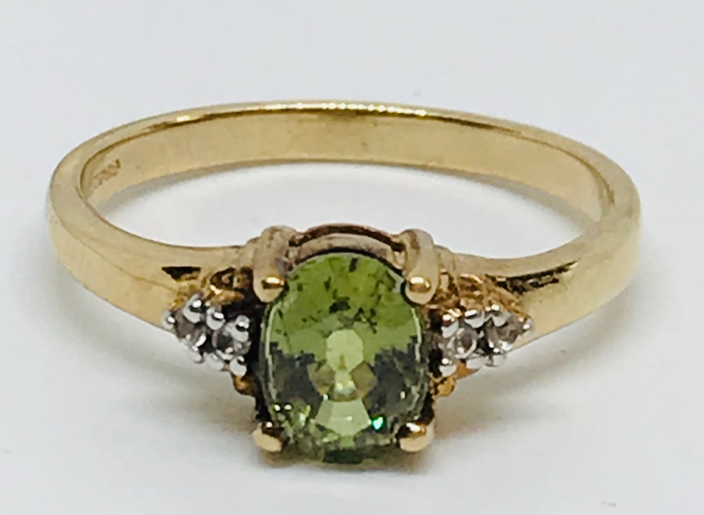 Rare Green Zircon and diamond Ring in yellow gold   Size N